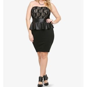 Torrid laced top, leather peplum dress. Size 20.